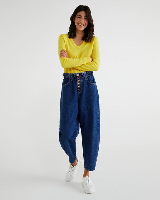 Jeans slouchy con botones