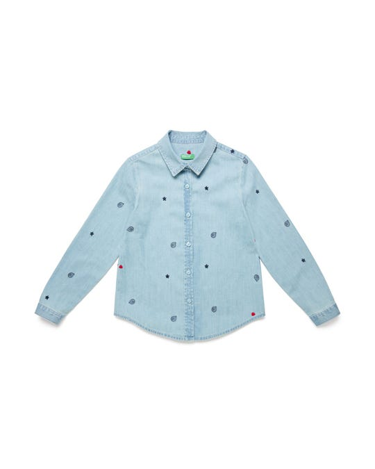 Camisa de Denim Bordada